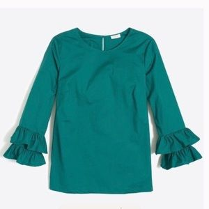 J. Crew Double Ruffle Sleeve Top